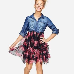 Justice floral & denim tutu 2fer dress